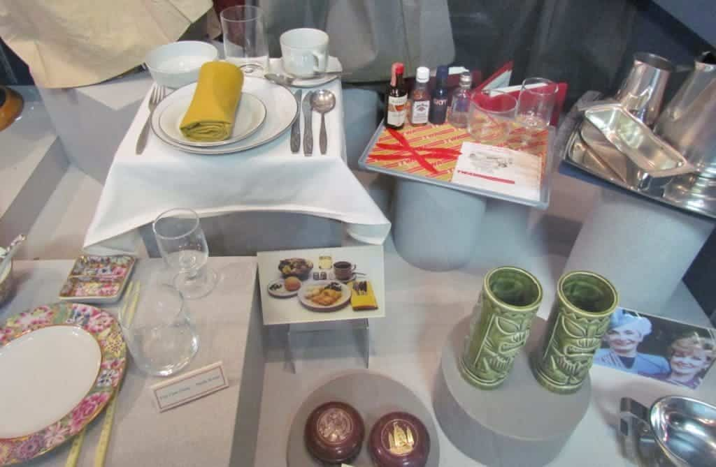 A display highlights the items that would have been used on flights in the 1970's.