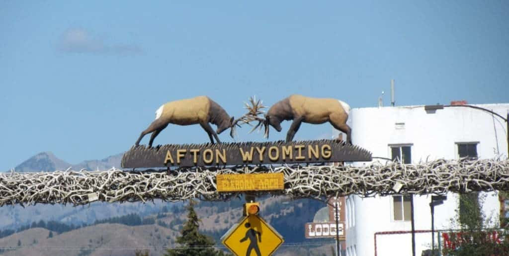 A pair of fighting elk bucks sit atop a row oof intertwined elk antlers to form a decorative arch in Afton, Wyoming.
