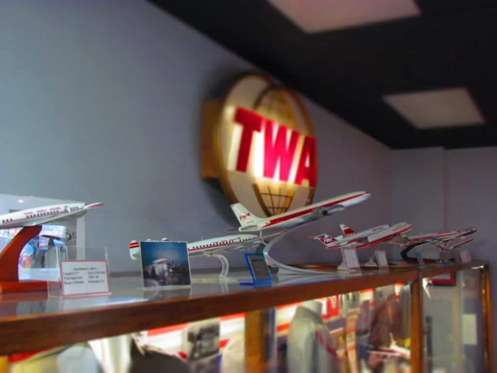 A series of airplane models showcase the changes that have occurred in technology over the decades.