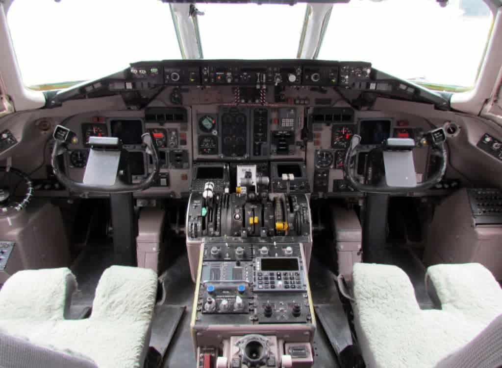 The cockpit of a modern jet airplane.