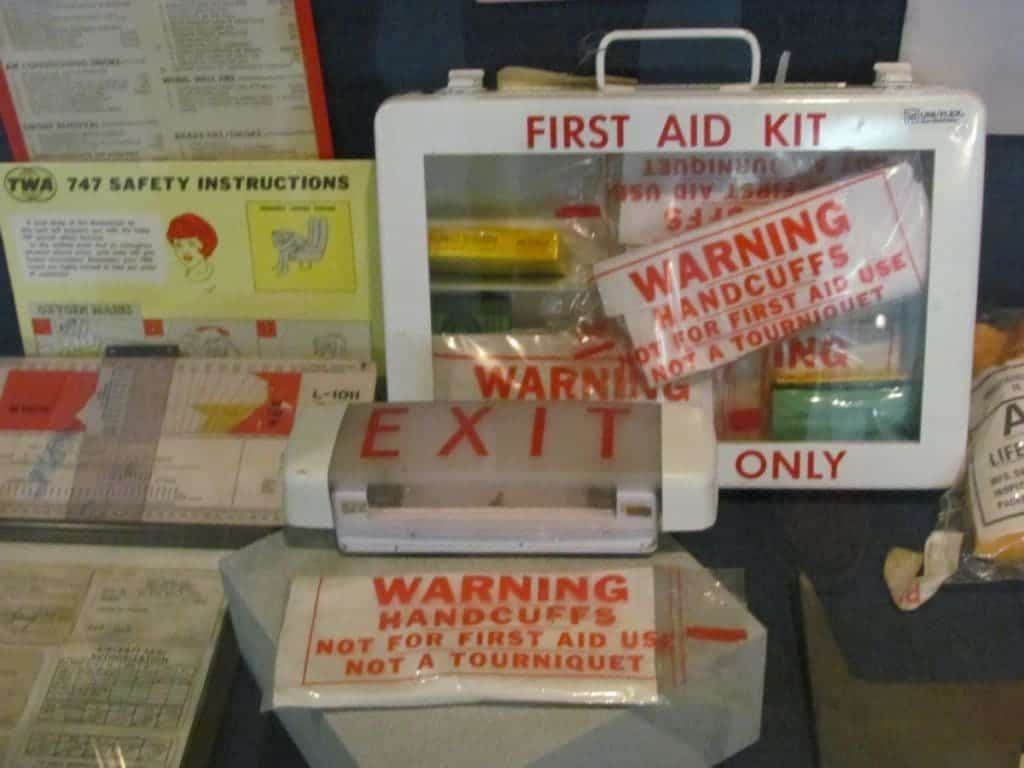 Assorted first aid items used on airplanes.