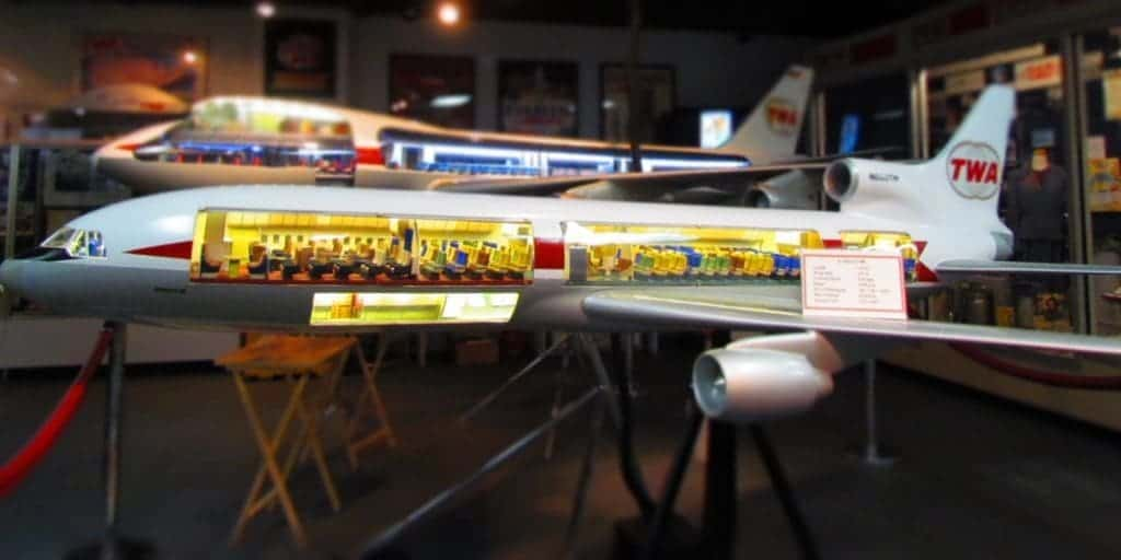 Models of airliners with cutout views of the interior.