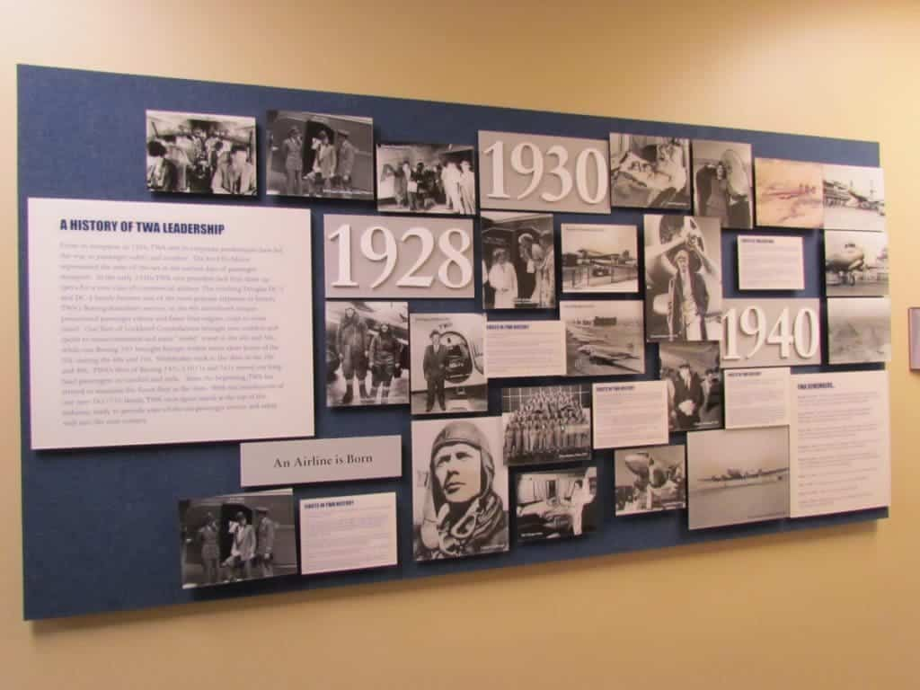 Part of a series of boards highlighting the chronological history of the TWA Airllines.