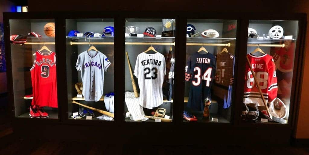 Various uniforms from Chicago sports teams.