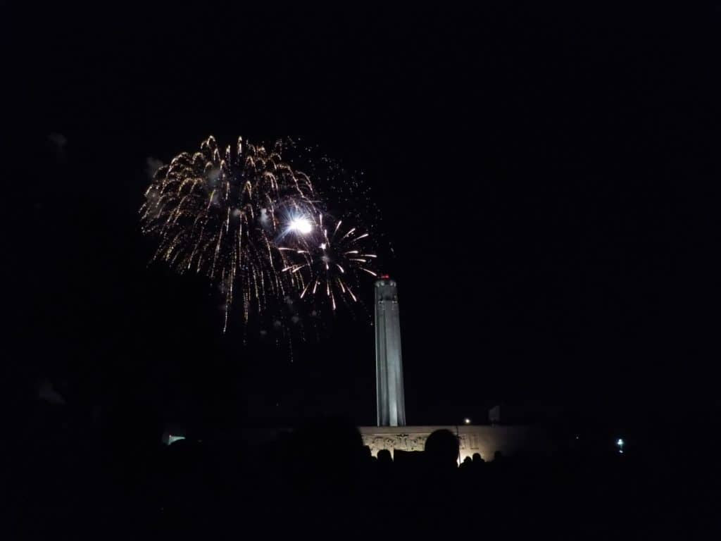 Fireworks behind the Liberty Memorial.