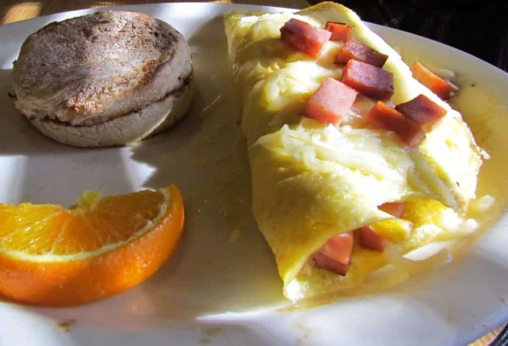 Omelet with english muffin.