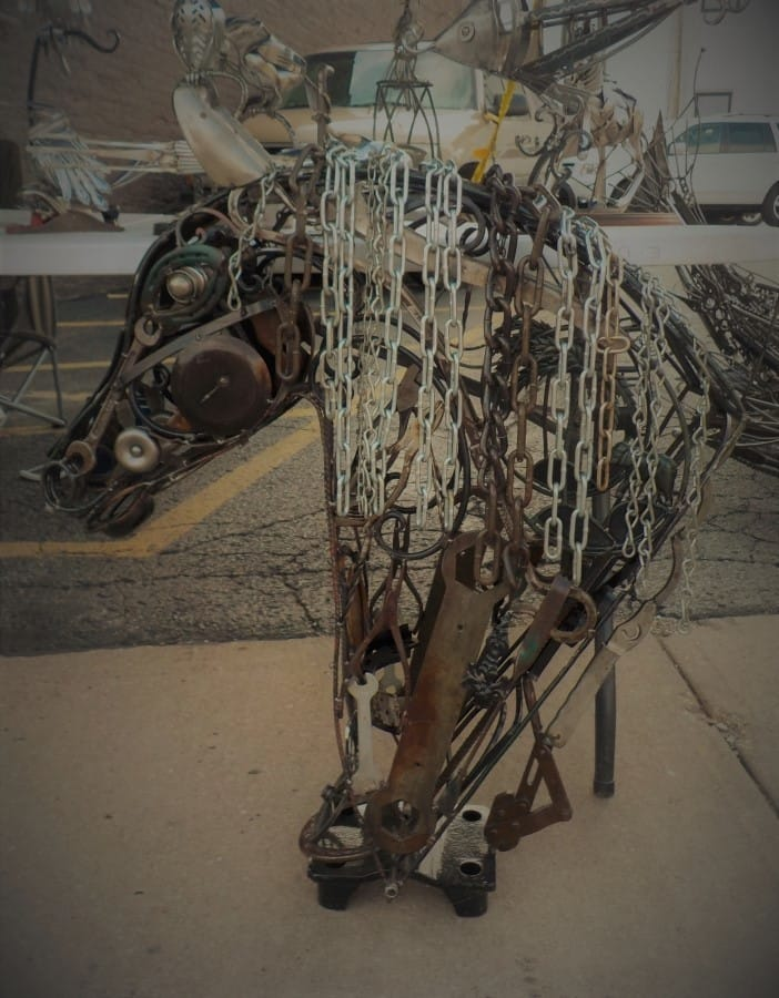 Horse sculpture made from recycled materials.