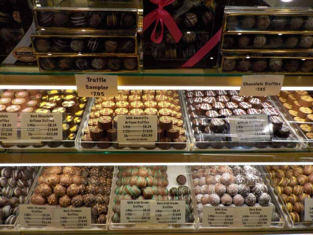 A display case filled with truffles.