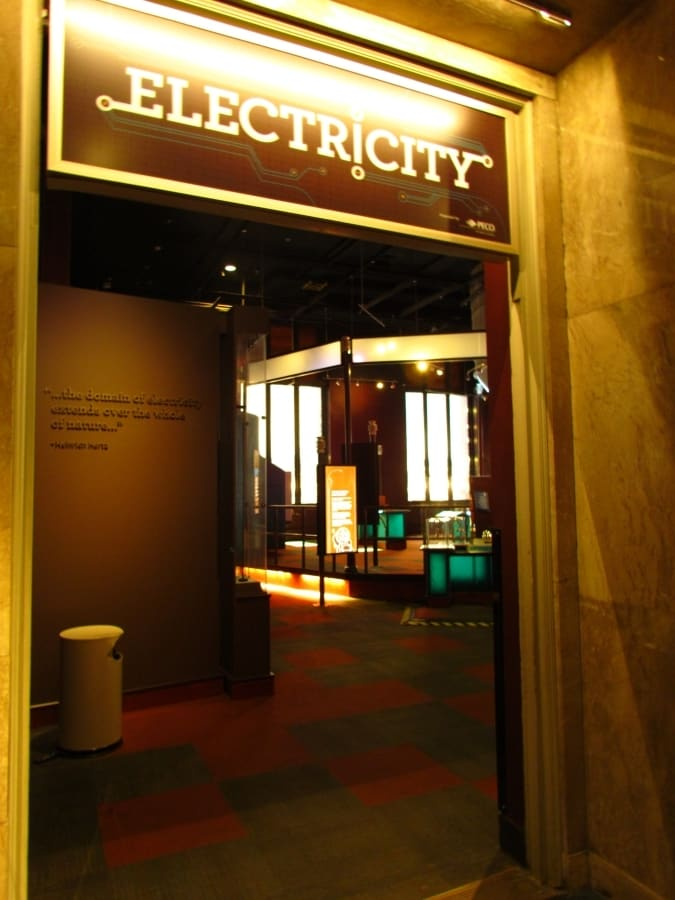Entrance to Electricity exhibit at Franklin Institute.