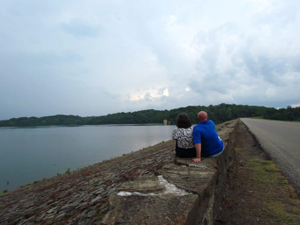 The authors enjoy watching a storm roll in at Wyandotte County Lake.