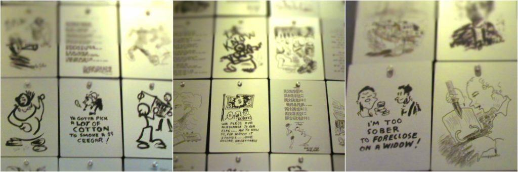 A series of pictures show some of the drawings produced by Woody Guthrie during his lifetime.