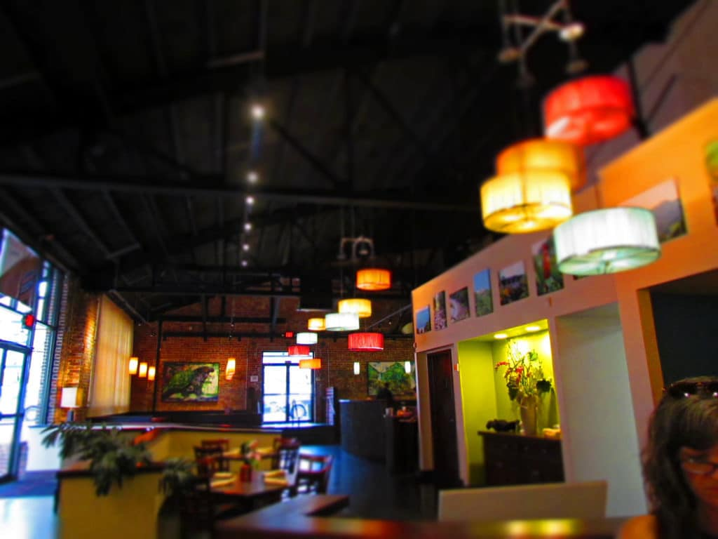 The high ceilings in Sisserou's are reminiscent of the warehouses in the Caribbean.