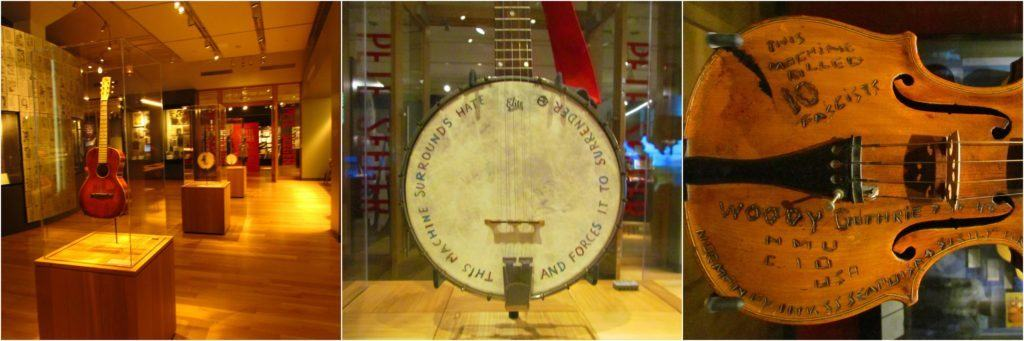 A series of pictures show the musical instruments once owned by Woody Guthrie, and hand decorated by the artist.