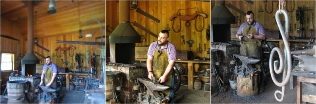 Blacksmith working in shop.