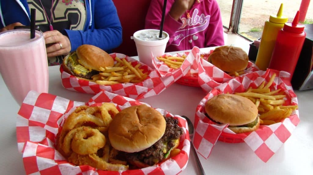 Table full of food at Bobo's Drive In.