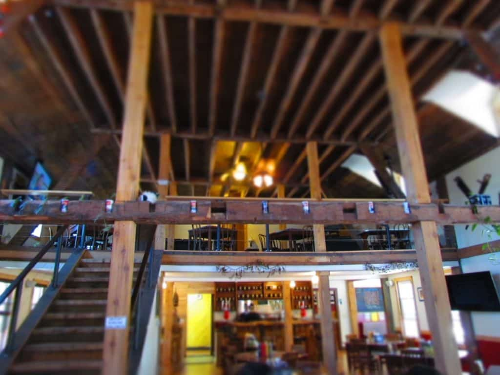 The open air feel is complimented by the over sized beams and supports inside the millstream Brau Haus.