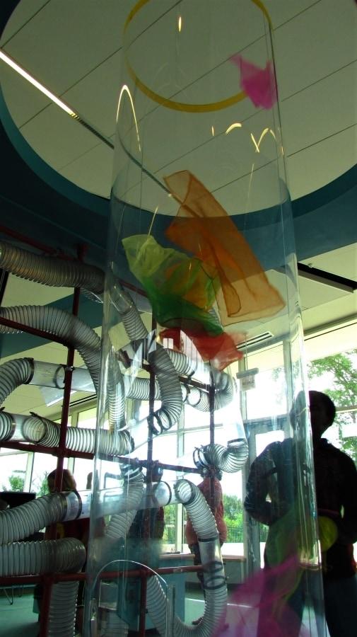 A wind tornado machine works with handkerchiefs.