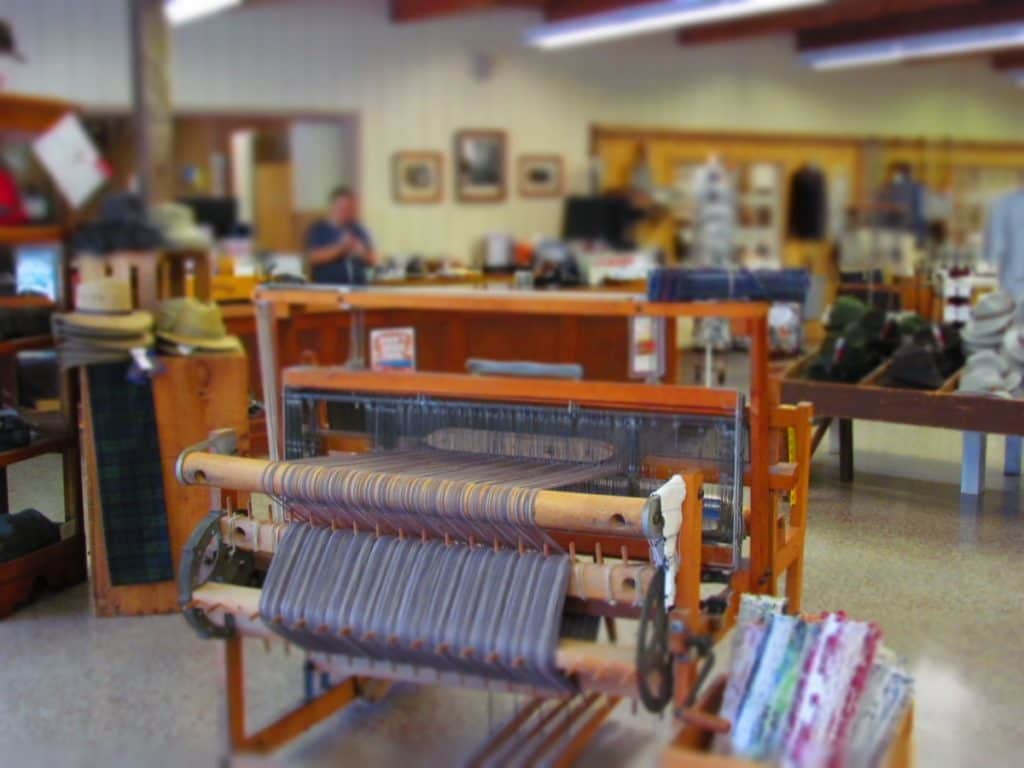 A loom sits in the showroom at Amana Woolen Mill.