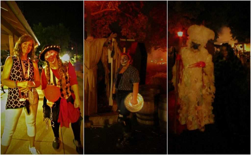 An assortment of characters populate the Halloween Haunt at Worlds of Fun.