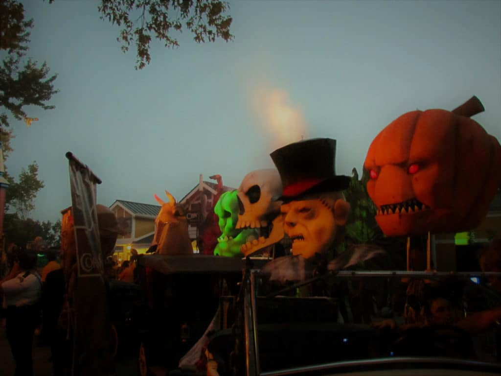 Iconic heads represent the various zones that can be found throughout Worlds of Fun during the Halloween Haunt.