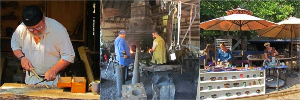 A series of photos show a woodworker, blacksmiths, and pottery makers.