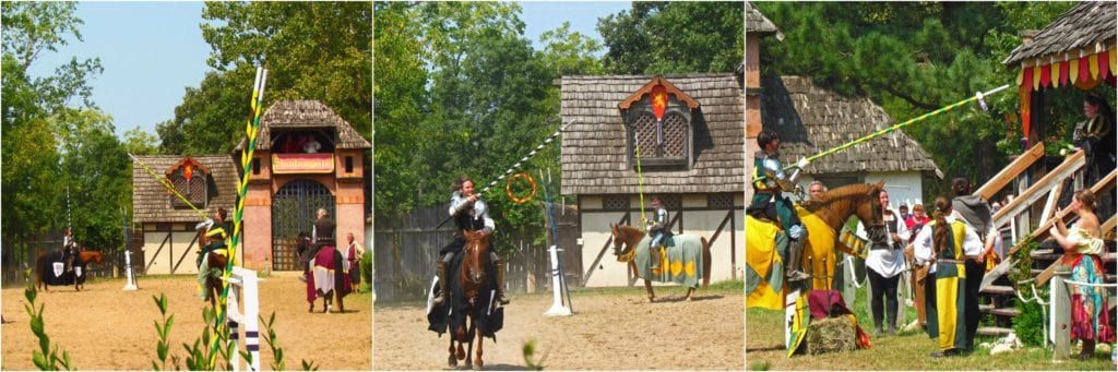 Two knights attempt to capture a hoop on their lance, in order to win the Queen's favor.