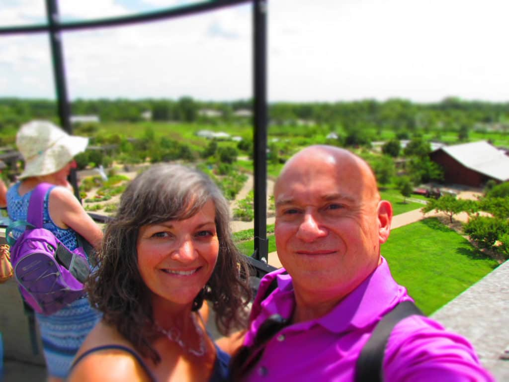The authors pose for a selfie at the top of the silo area.
