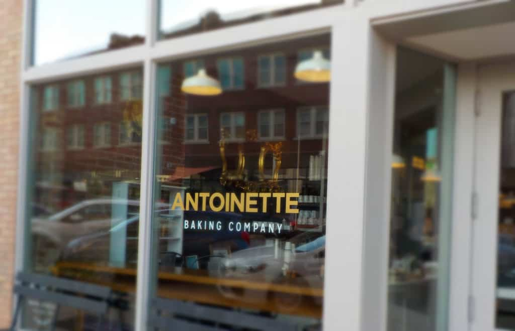 Large windows show passersby the treats that can be found inside Antoinette Baking Company.