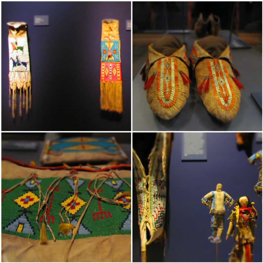 A collage of four pictures highlights some of the beadwork found in Native American pieces.
