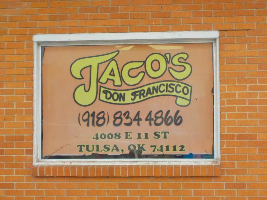 The sign for Taco's don Francisco signals the home of some great Mexican cuisine.