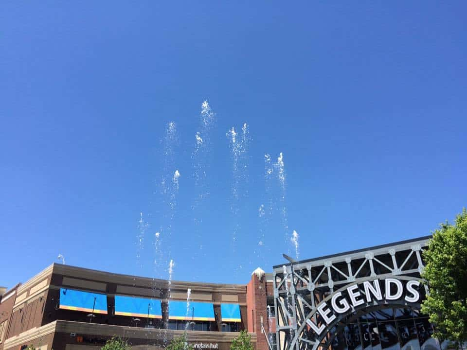 The fountain at Legends Shopping Center is enjoyable to watch.
