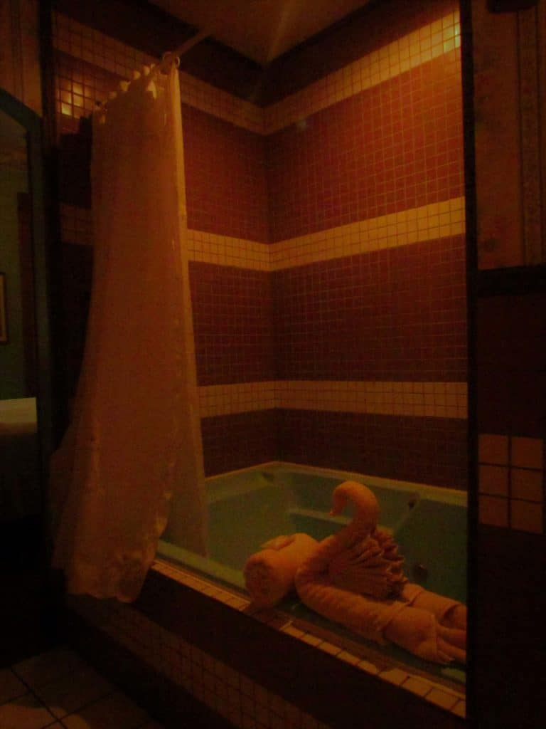An over-sized jaccuzi tub is large enough for two people.