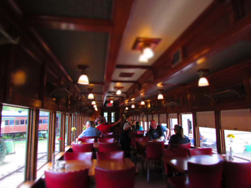 The interior of a 1920's dining car.