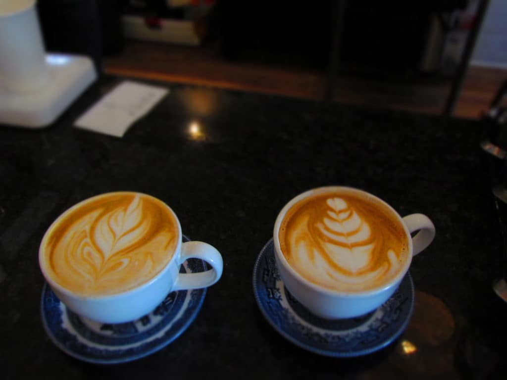 Beautifully decorated cups of latte are a great start to a day of shopping.