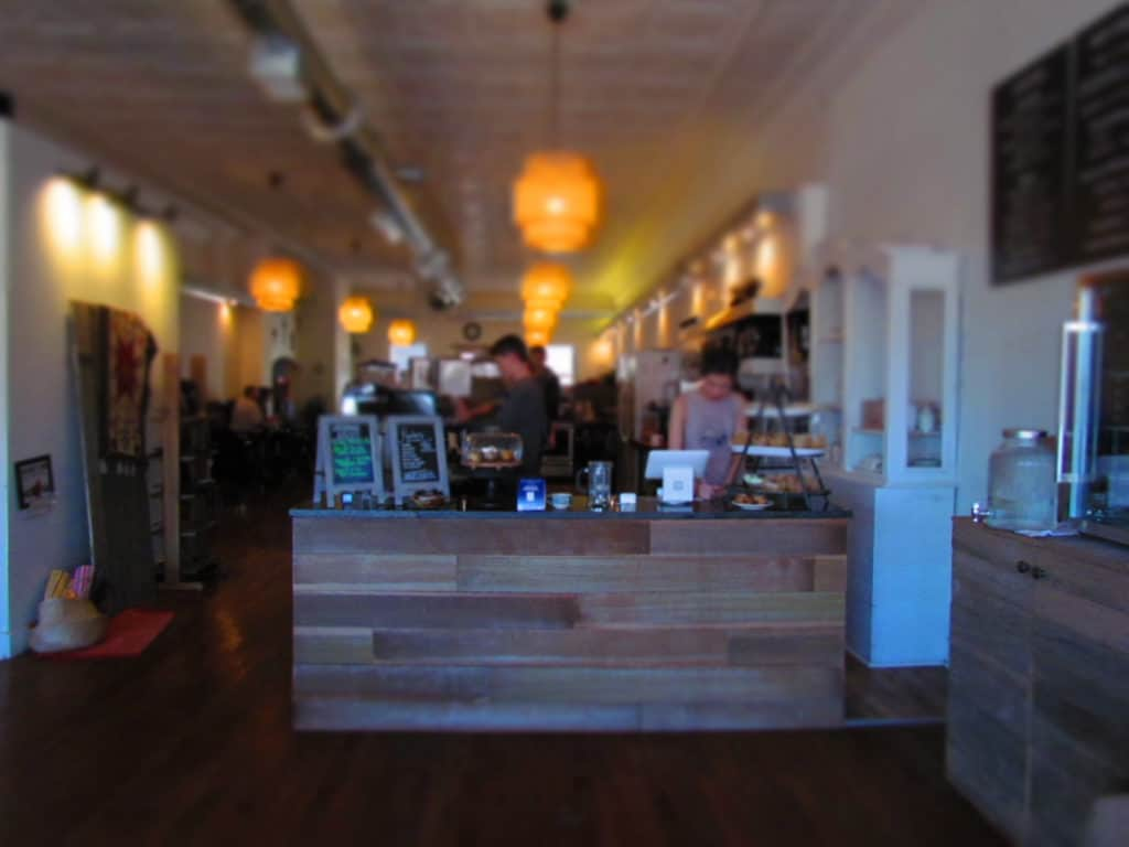 The counter at Third Space Coffee is located in a central location.