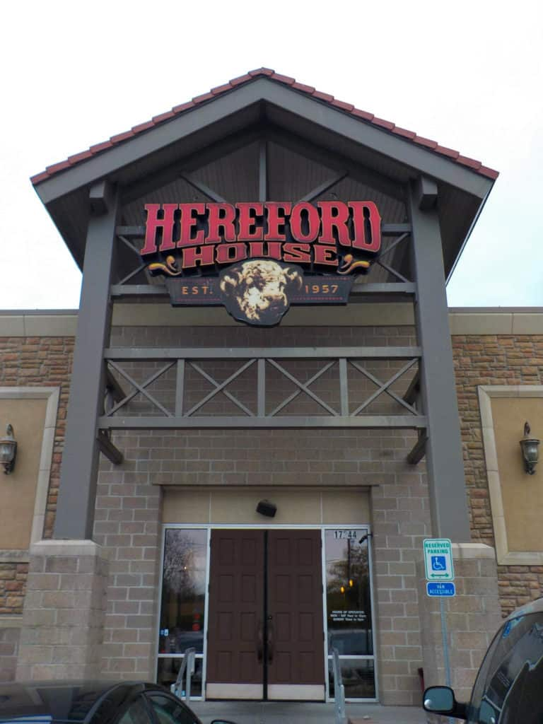 The restaurant entrance includes the classic signage like the original Hereford House.