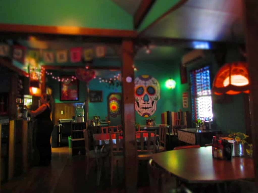 The interior of the restaurant is colorfully decorated.