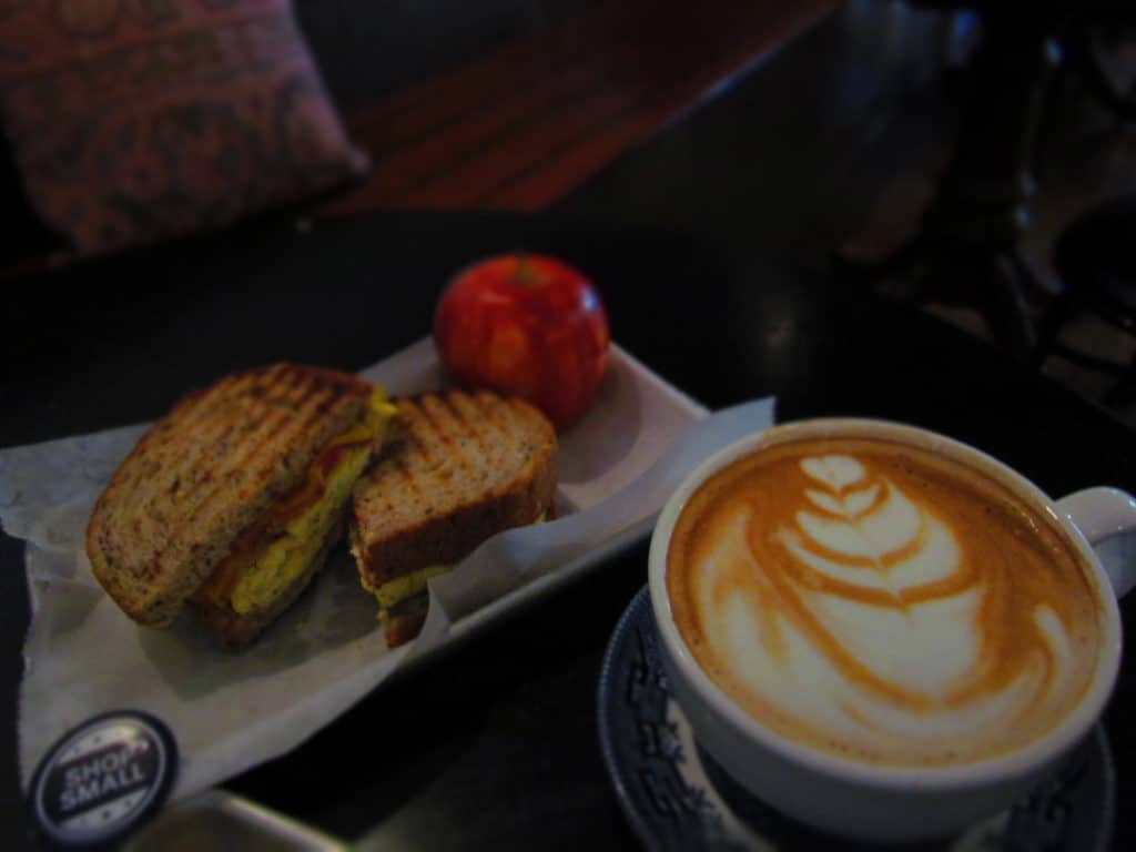 A Breakfast Bites sandwich is the perfect accompaniment for a hot cup of latte.