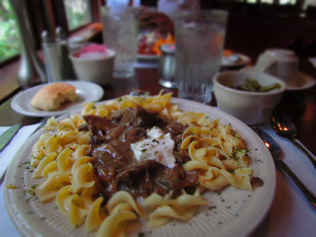 Beef Stroganoff is made with tender meat, delicious sauce, and served over a bed of egg noodles.