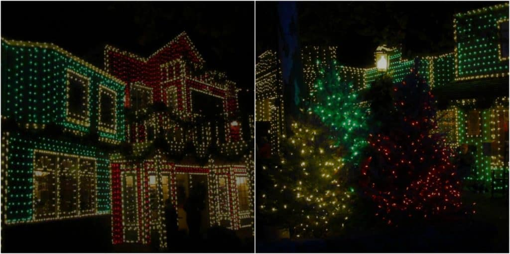 Buildings throughout Silver Dollar City are covered in strands of lights.
