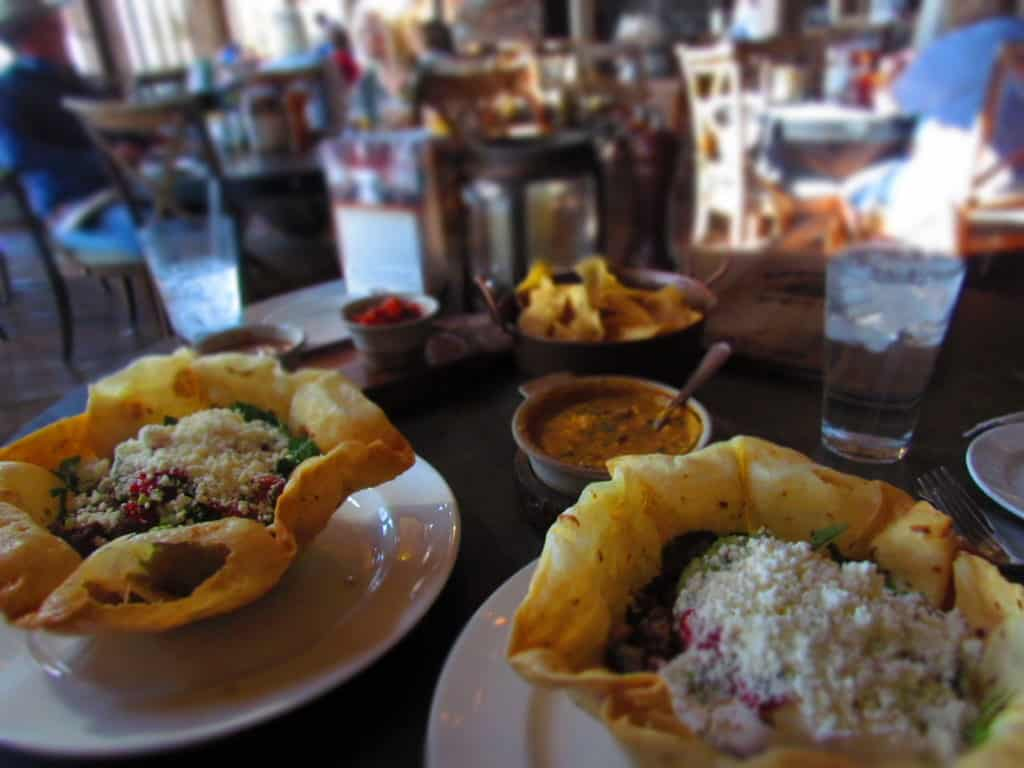 The authors enjoyed a lunch of taco salads at Arnie's Barn.
