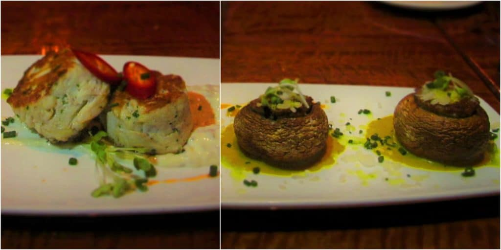 Appetizers on the menu include crab cakes and stuffed mushrooms.