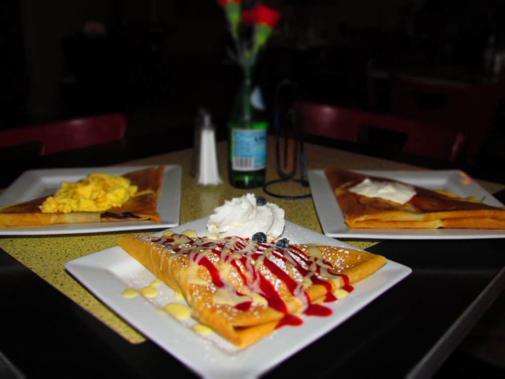 A trio of crepes makes a filling meal for three at Chez Elle.
