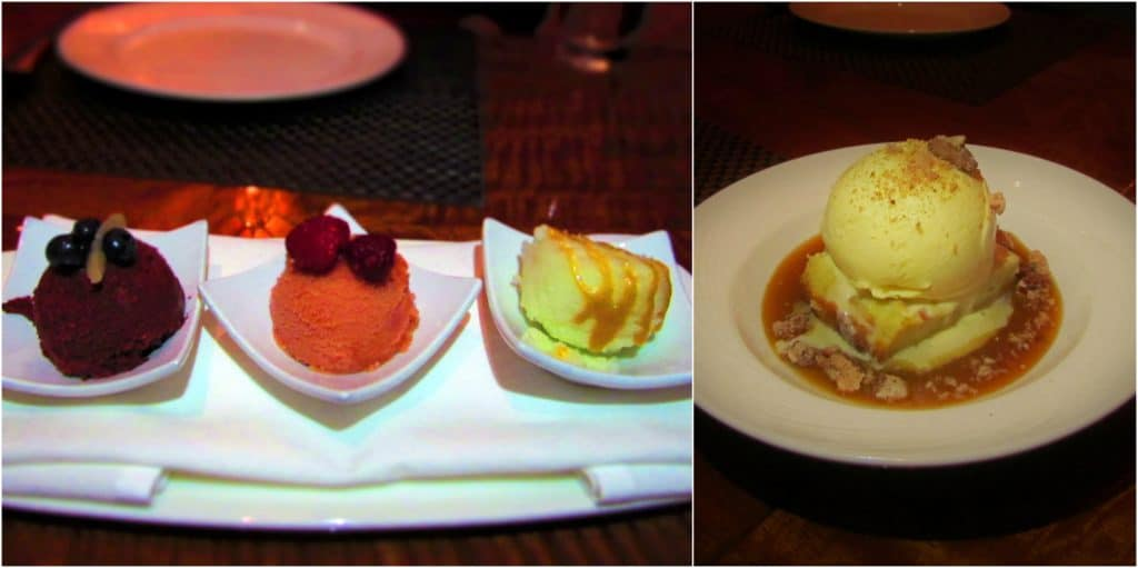 A trio of sorbets and bread pudding are two dessert options at Final Cut.