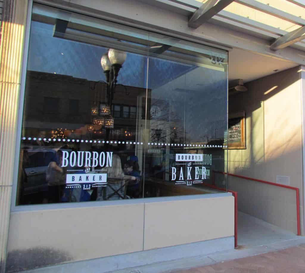 The front of Bourbon and Baker sits on Poyntz Avenue in Manhattan, Kansas.