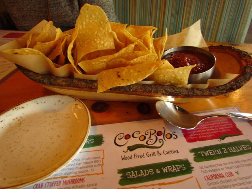 Chips and salsa are a perfect snack while studying the menu at Coco Bolos in Prairiefire.