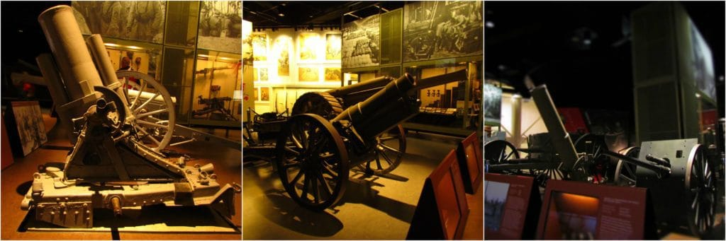 A variety of the artillery guns used in WW1.