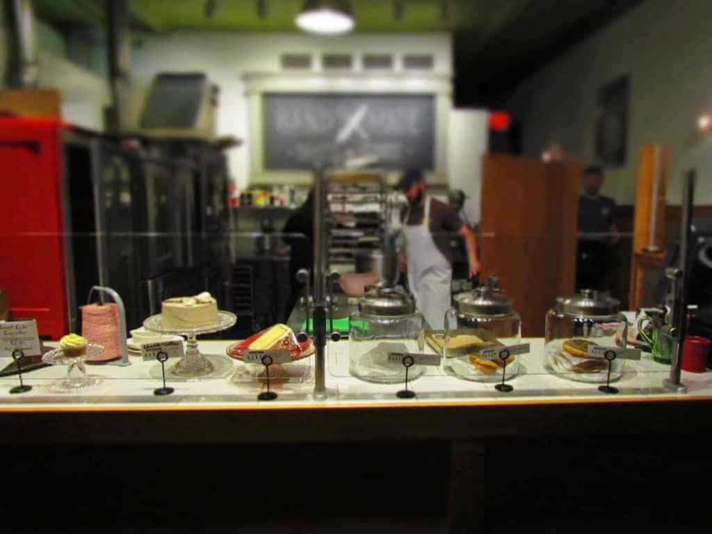 An assortment of dessert options are available in the bakery.
