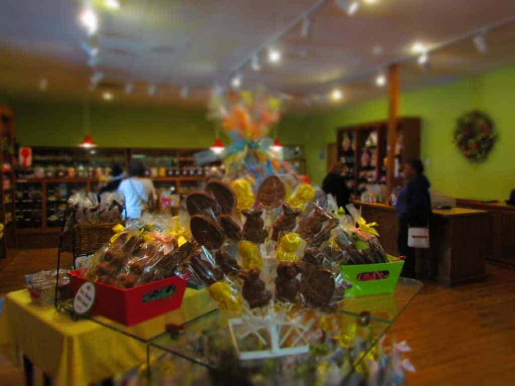 Easter displays decorate the showroom at Candy House Gourmet.