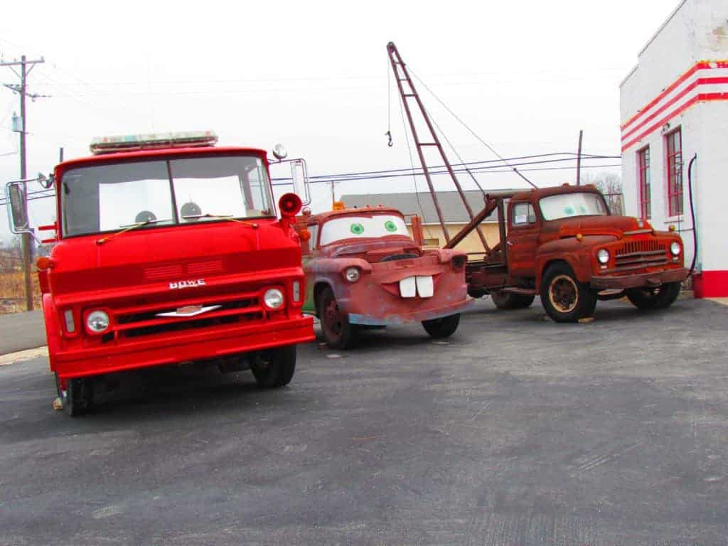 It was quite apparent that some of the vehicles in the Cars movie were waiting to be photographed.